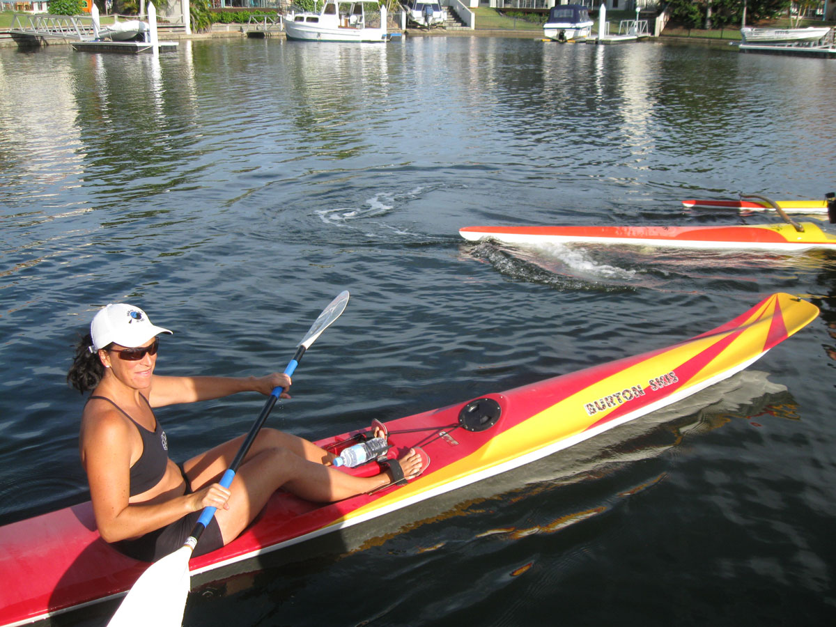 This is me paddling my surf ski on the Gold Coast canals